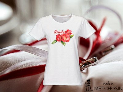 Bride T-shirt - watercolour floral design