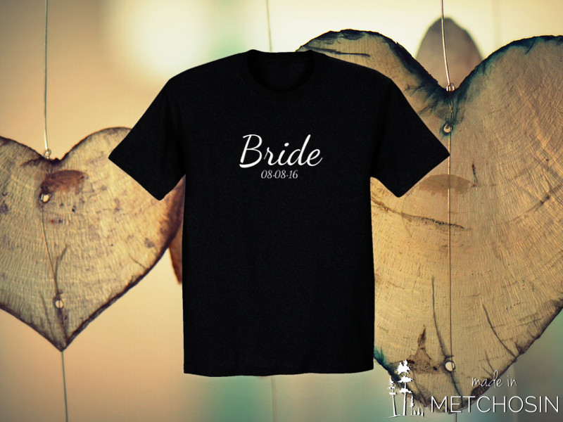 Bride, Groom T-shirt with Date
