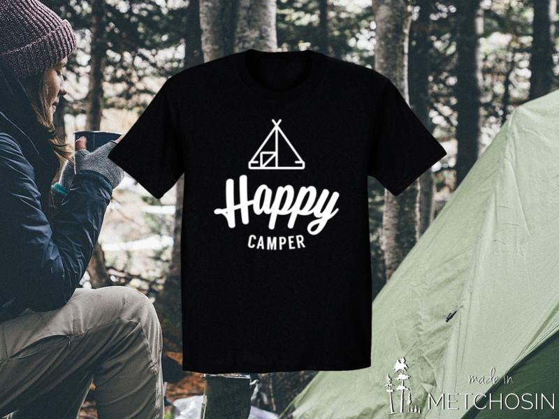 happy camper tshirt with tent