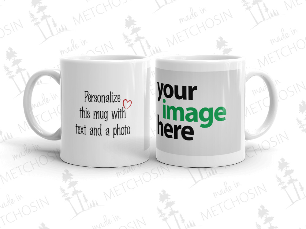 personalized photo mug with text