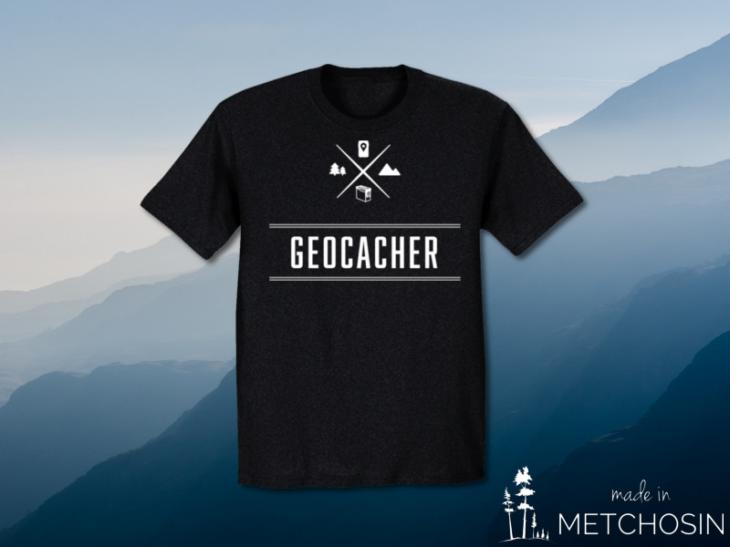 Geocacher with geocaching icons tshirt